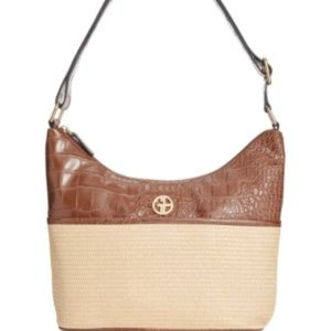 Giani Bernini Straw Crocodile Hobo Bag Brown